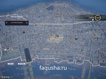 Карта с местоположением запертых золотых сундуков в районе Сити в Assassin's Creed: Syndicate