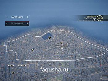 Карта с местоположением запертых золотых сундуков в районе Уайтчепел в Assassin's Creed: Syndicate