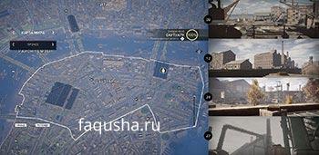 Карта с местоположением музыкальных шкатулок с ключами от хранилища Ружа в районе Саутуарк в Assassin's Creed: Syndicate