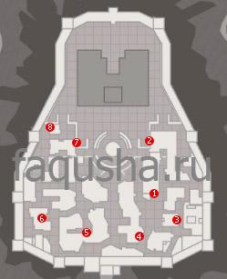 Расположение статуэток в Монтериджони в Assassin's Creed 2