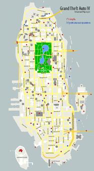 Карта Алгонквина с метками, где искать голубей в Grand Theft Auto IV (GTA4)