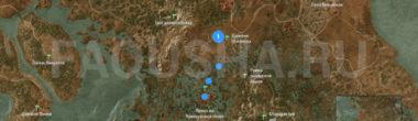 Карта задания 'Возвращение в Кривоуховы топи' в 'Ведьмаке 3'